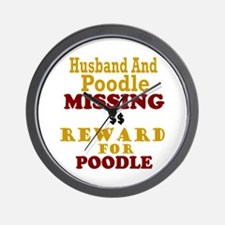 Husband & Poodle Missing Wall Clock