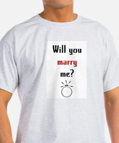 Will You Marry Me? Surprise Ash Grey T-Shirt