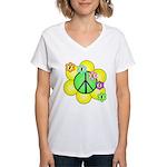Peace Blossoms / Green Women's V-Neck T-Shirt