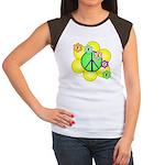 Peace Blossoms / Green Women's Cap Sleeve T-Shirt