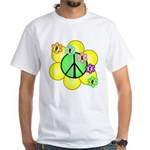 Peace Blossoms / Green White T-Shirt