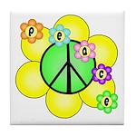 Peace Blossoms / Green Tile Coaster