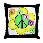 Peace Blossoms / Green Throw Pillow