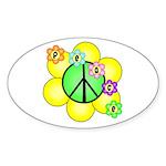 Peace Blossoms / Green Oval Sticker (10 pk)