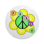 Peace Blossoms / Green Ornament (Round)