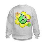 Peace Blossoms / Green Kids Sweatshirt