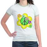 Peace Blossoms / Green Jr. Ringer T-Shirt