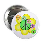 "Peace Blossoms / Green 2.25"" Button"