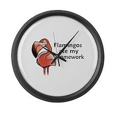 Flamingos ate my homework Large Wall Clock