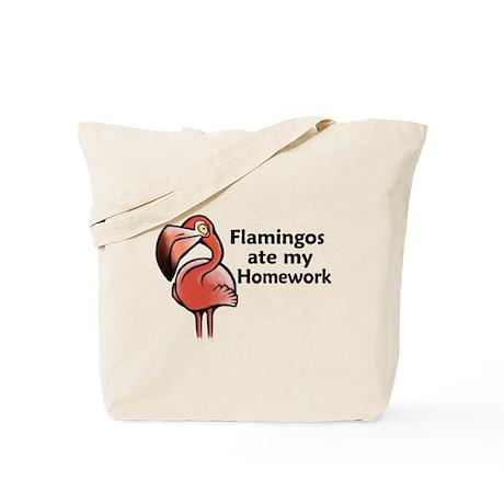 Flamingos ate my homework Tote Bag