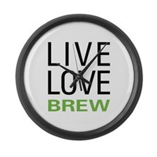 Live Love Brew Large Wall Clock