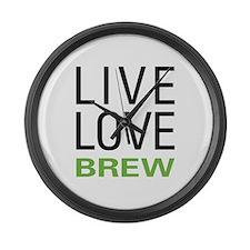 Live Love Brew Large Wall Clock