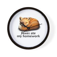 Foxes ate my homework Wall Clock