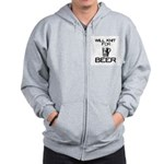 Will Knit for Beer Zip Hoodie