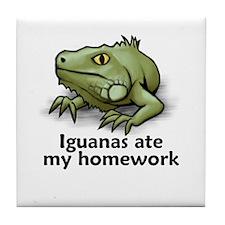 Iguanas ate my homework Tile Coaster