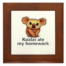 Koalas ate my homework Framed Tile
