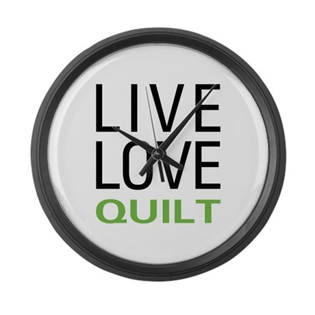 Live Love Quilt Large Wall Clock
