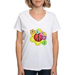 Super Peace Blossom Women's V-Neck T-Shirt