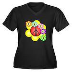 Super Peace Blossom Women's Plus Size V-Neck Dark