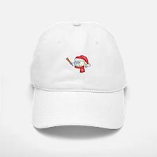 Happy baseball smiley wearing a red santa hat Baseball Baseball Cap