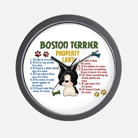 Boston Terrier Property Laws 4 Wall Clock