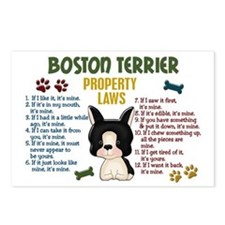 Boston Terrier Property Laws 4 Postcards (Package