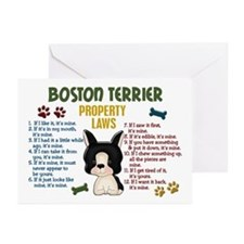 Boston Terrier Property Laws 4 Greeting Cards (Pk