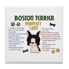 Boston Terrier Property Laws 4 Tile Coaster