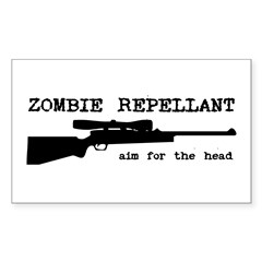 Zombie Repellant Rifle Rectangle Sticker 50 pk)