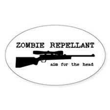 Zombie Repellant Rifle Oval Stickers
