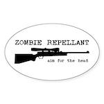 Zombie Repellant Rifle Oval Sticker (10 pk)