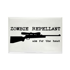Zombie Repellant Rifle Rectangle Magnet