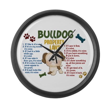 Bulldog Property Laws 4 Large Wall Clock