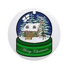 Log Cabin Snow Globe Ornament (Round)