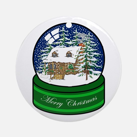 Log Cabin Snow Globe Ornament (Round)
