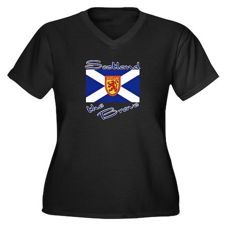 Scotland the Brave Women's Plus Size V-Neck Dark T