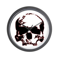 Black and Red Graphic Skull Wall Clock