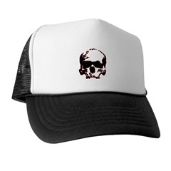 Black and Red Graphic Skull Trucker Hat