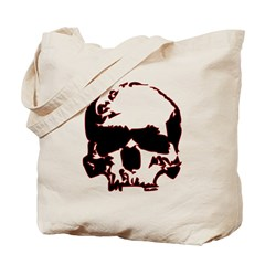 Black and Red Graphic Skull Tote Bag