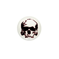 Black and Red Graphic Skull Mini Button (10 pack)