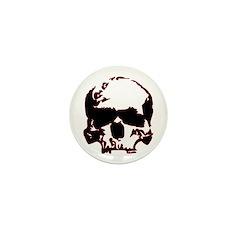 Black and Red Graphic Skull Mini Button