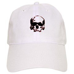 Black and Red Graphic Skull Baseball Cap