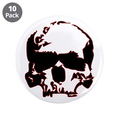"Black and Red Graphic Skull 3.5"" Button (10 p"