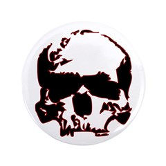 "Black and Red Graphic Skull 3.5"" Button"