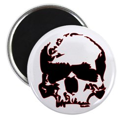 "Black and Red Graphic Skull 2.25"" Magnet (100"