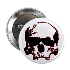 "Black and Red Graphic Skull 2.25"" Button (10"