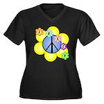 Peace Blossoms /blue Women's Plus Size V-Neck Dark