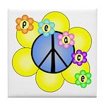 Peace Blossoms /blue Tile Coaster