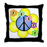 Peace Blossoms /blue Throw Pillow