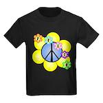Peace Blossoms /blue Kids Dark T-Shirt